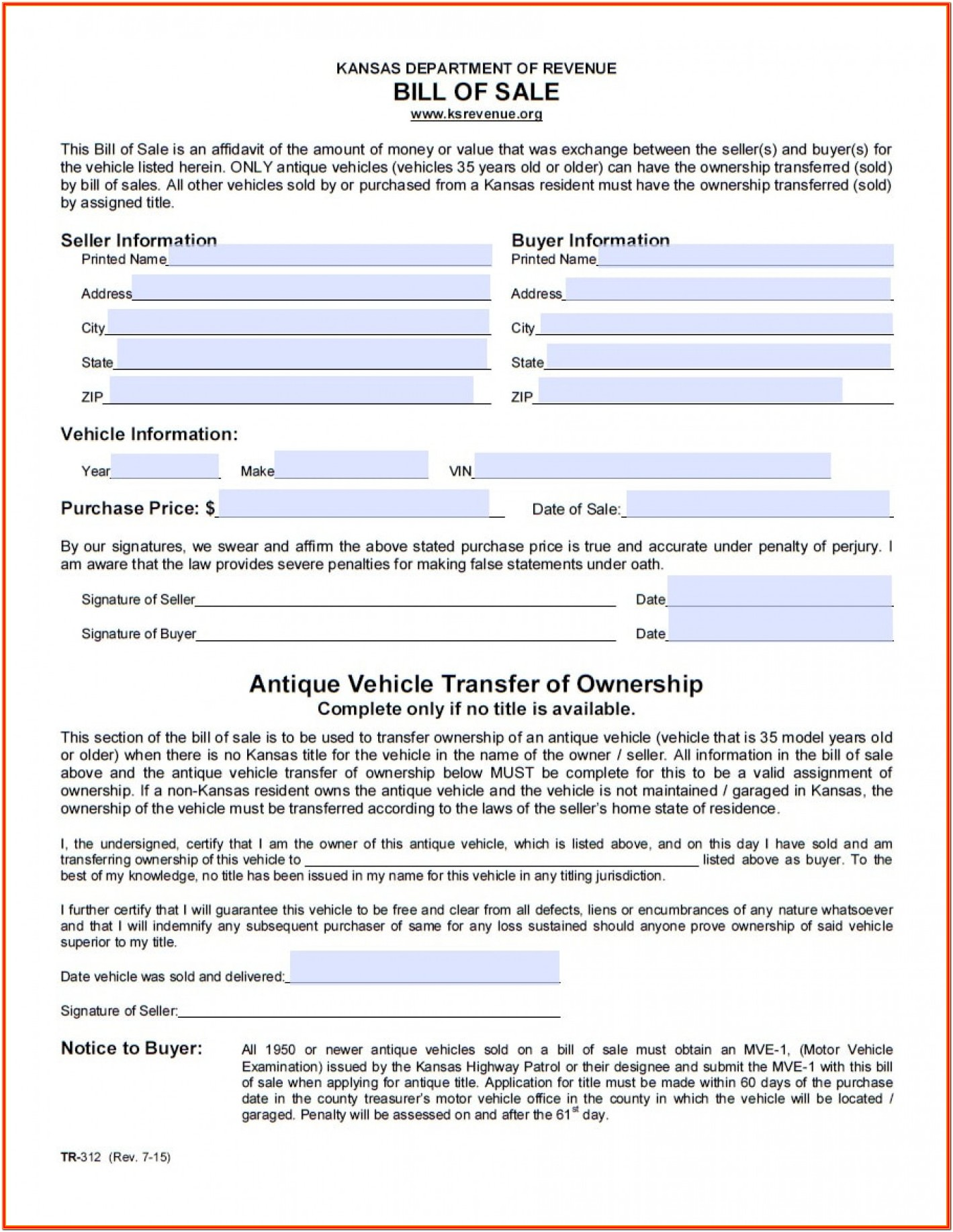 Printable Blank Vehicle Bill Of Sale Form