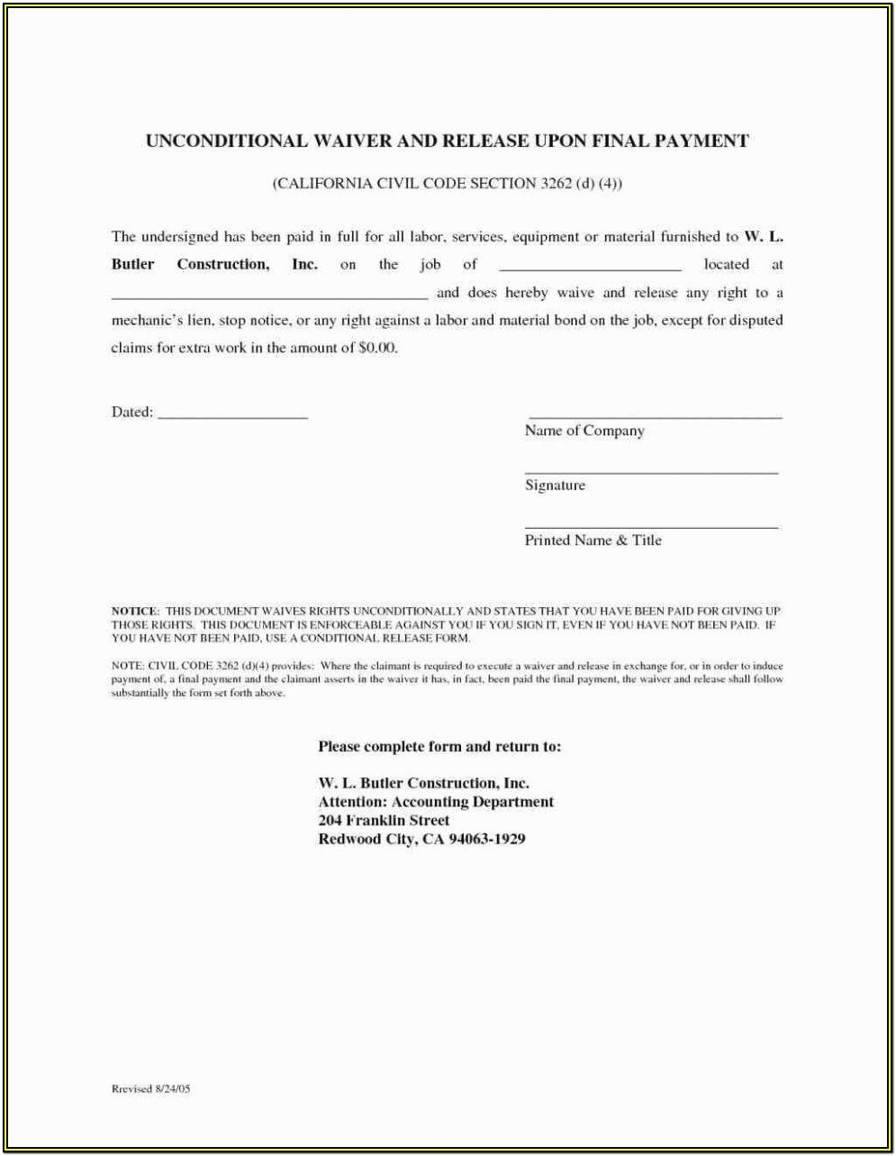 Printable Construction Lien Release Form