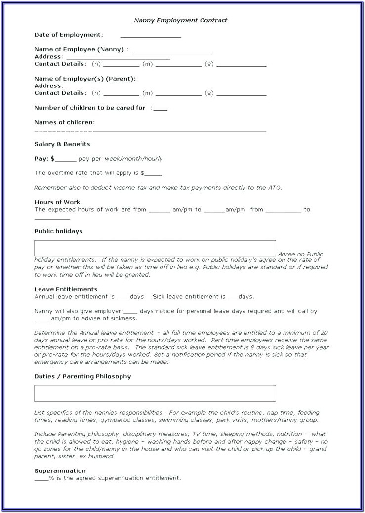 Printable Daycare Application Form For Parents