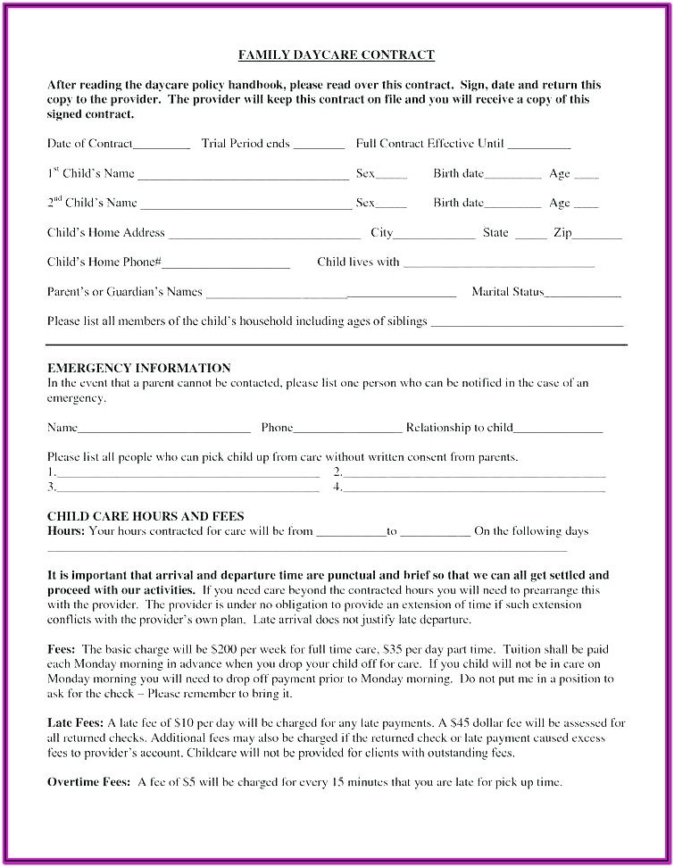 Printable Daycare Registration Forms