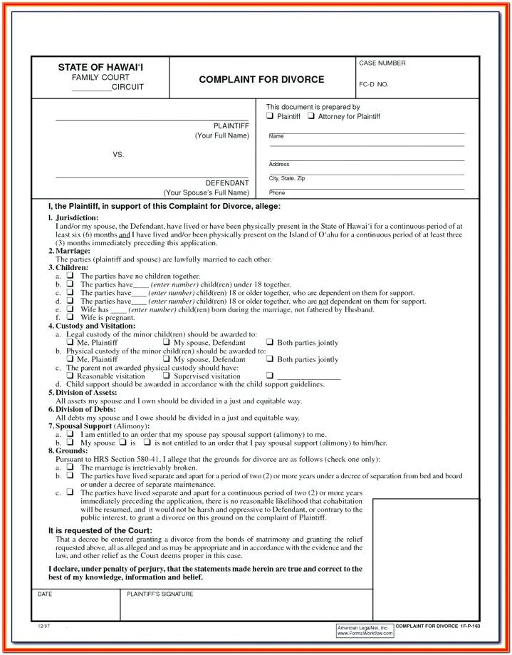 Printable Divorce Forms Ny