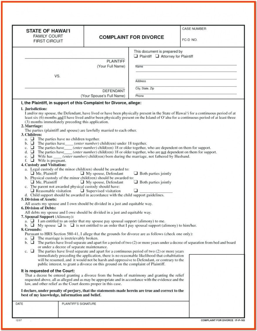 Printable Divorce Forms Pdf