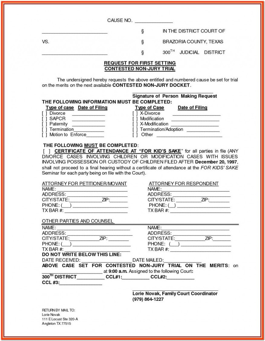 Printable Divorce Forms Texas