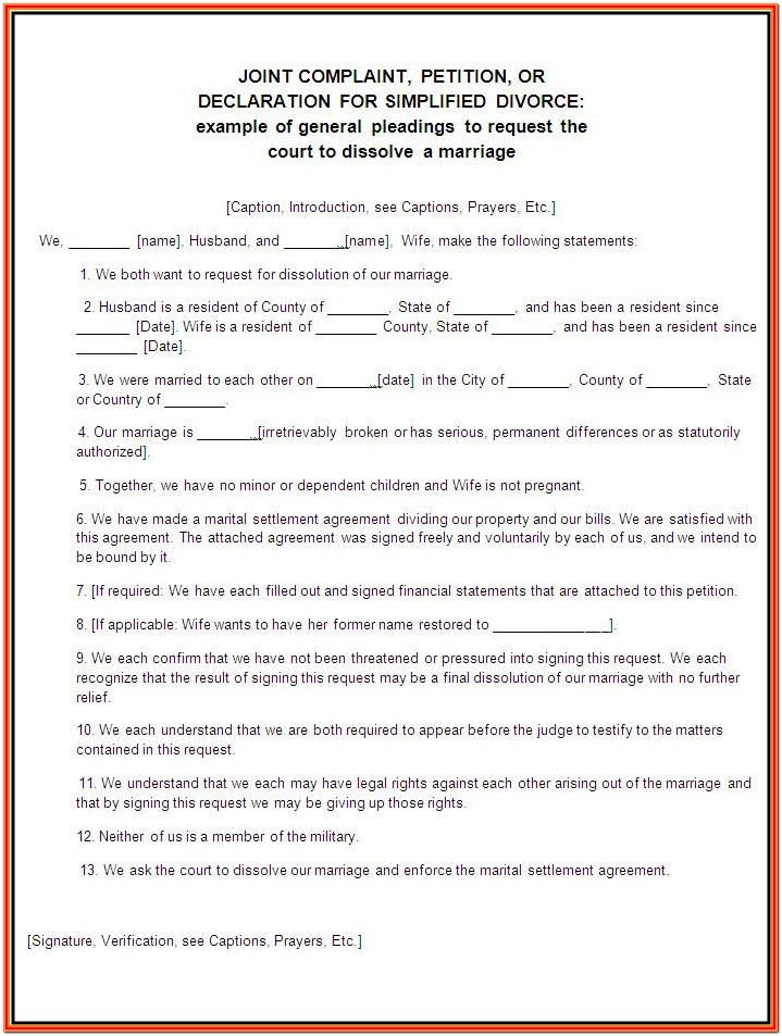 Printable Divorce Forms
