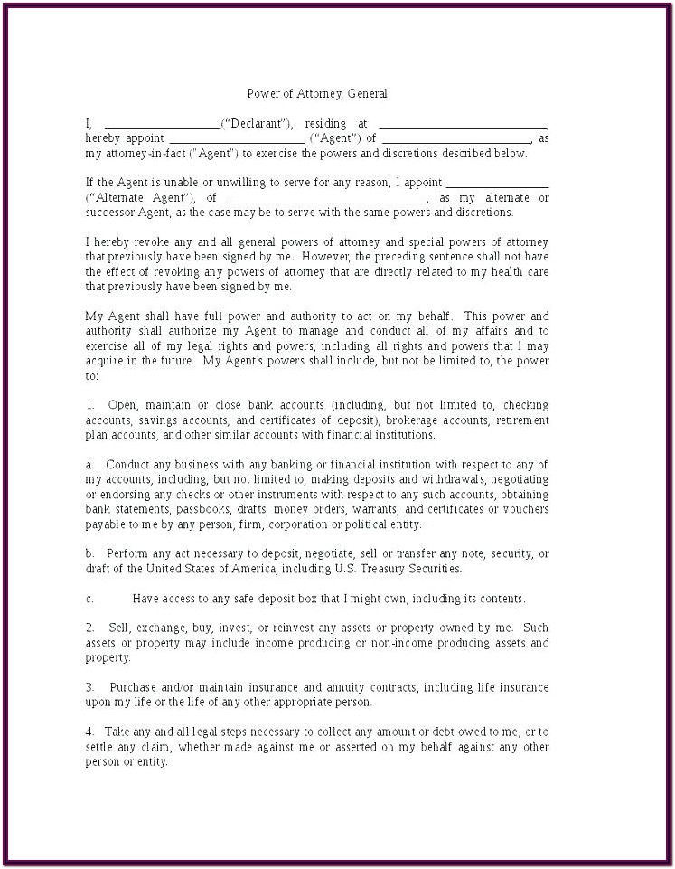 Printable Durable General Power Of Attorney Form Pdf