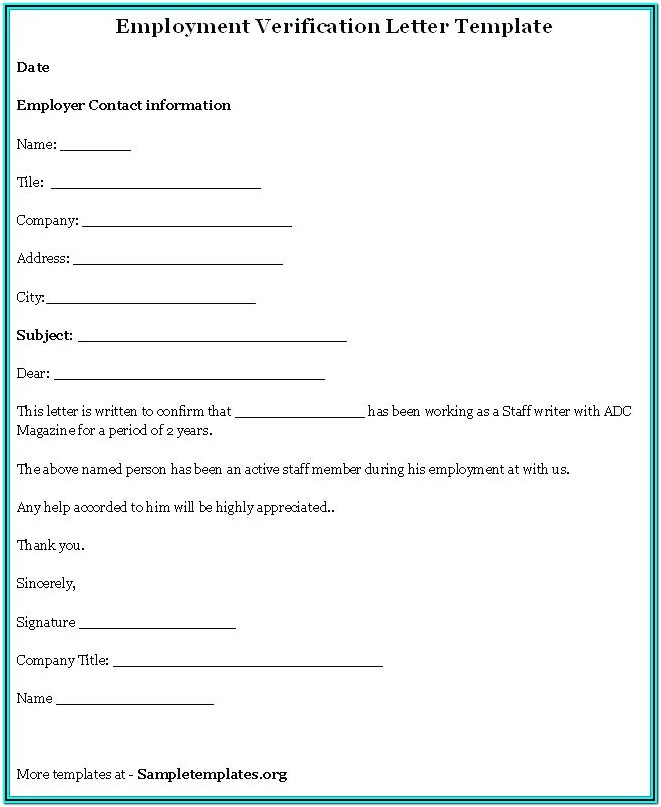 Printable Employment Verification Form Pdf