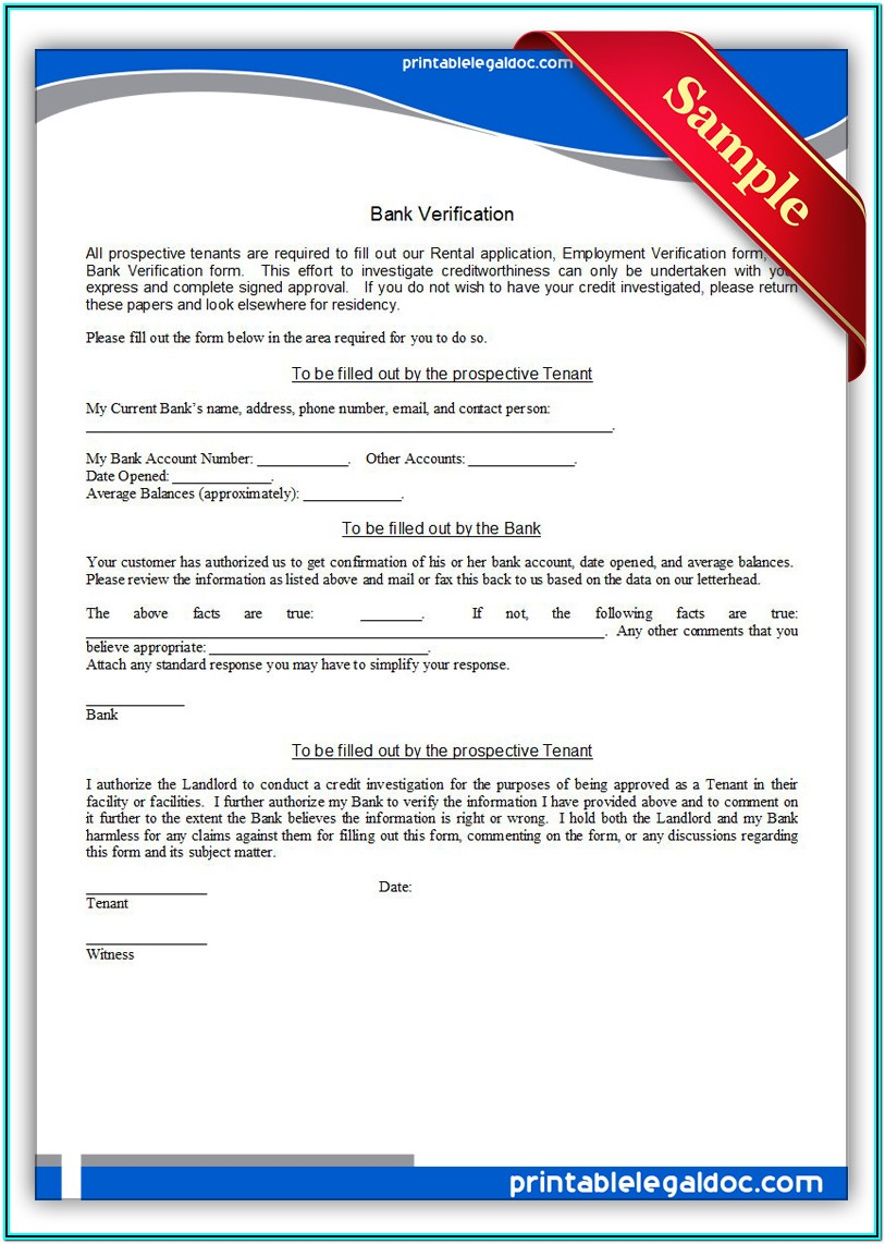 Printable Employment Verification Form Template