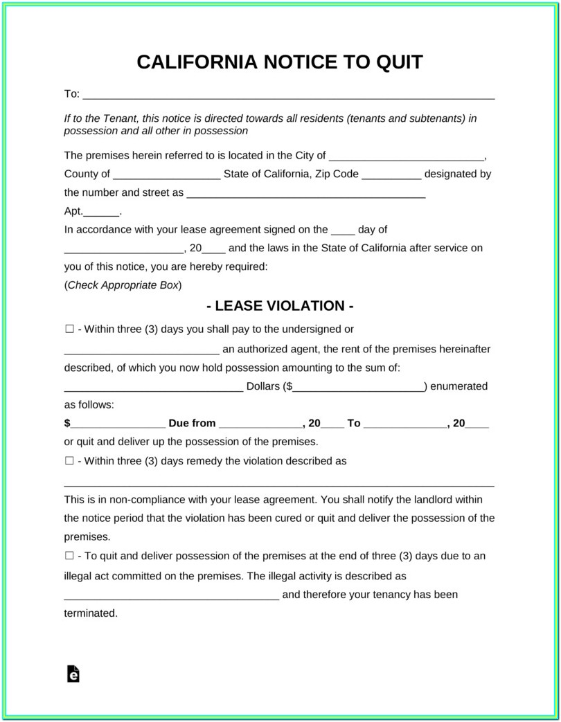 Printable Eviction Notice California Form