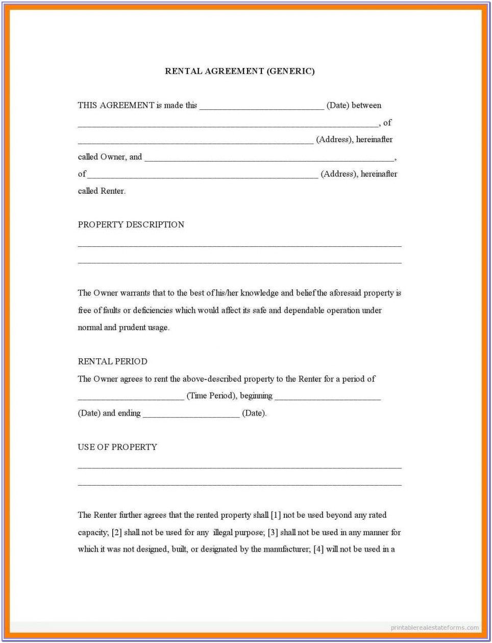 Printable Fill In Blank Printable Lease Agreement Format