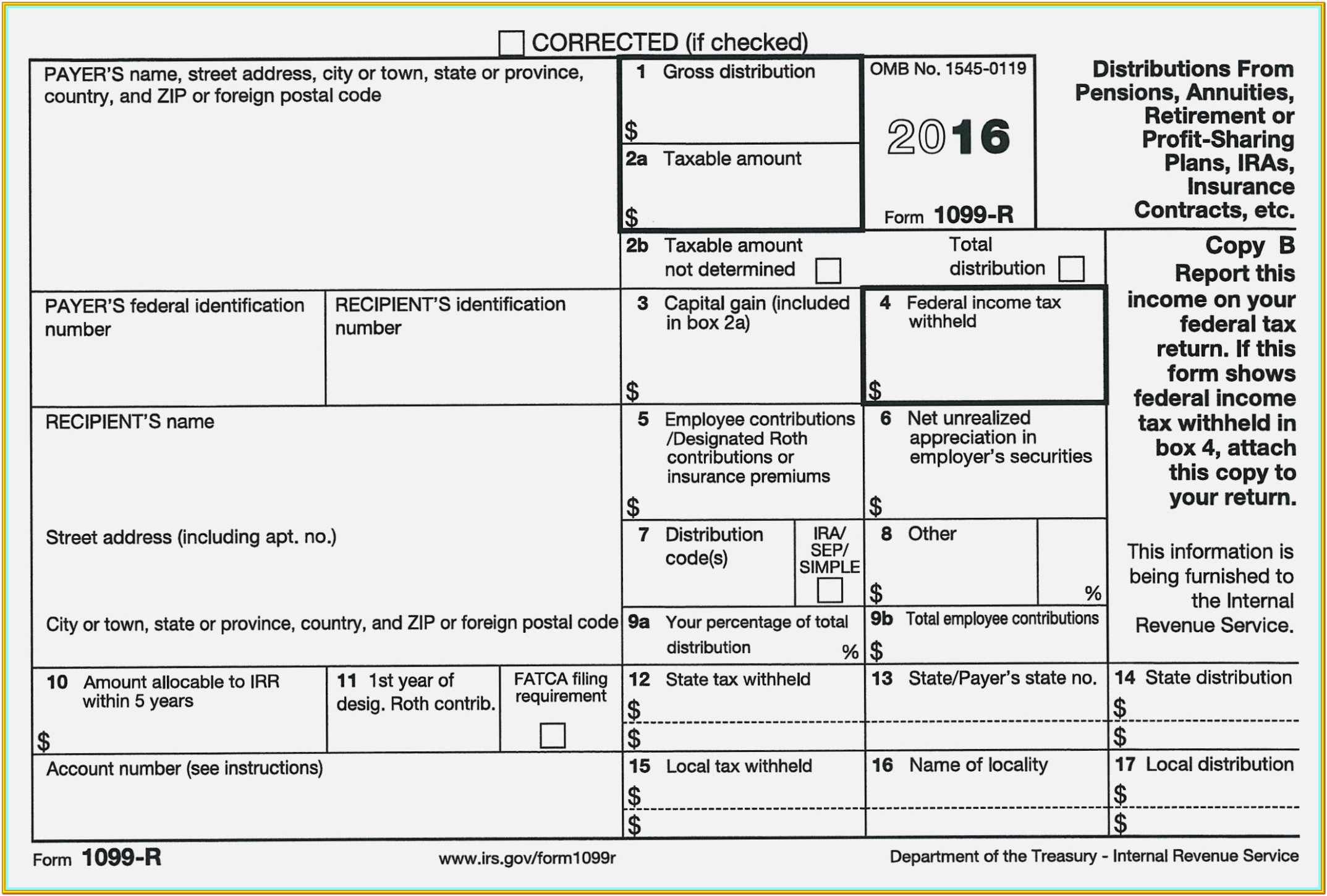 Printable Form 1099 Misc 2018