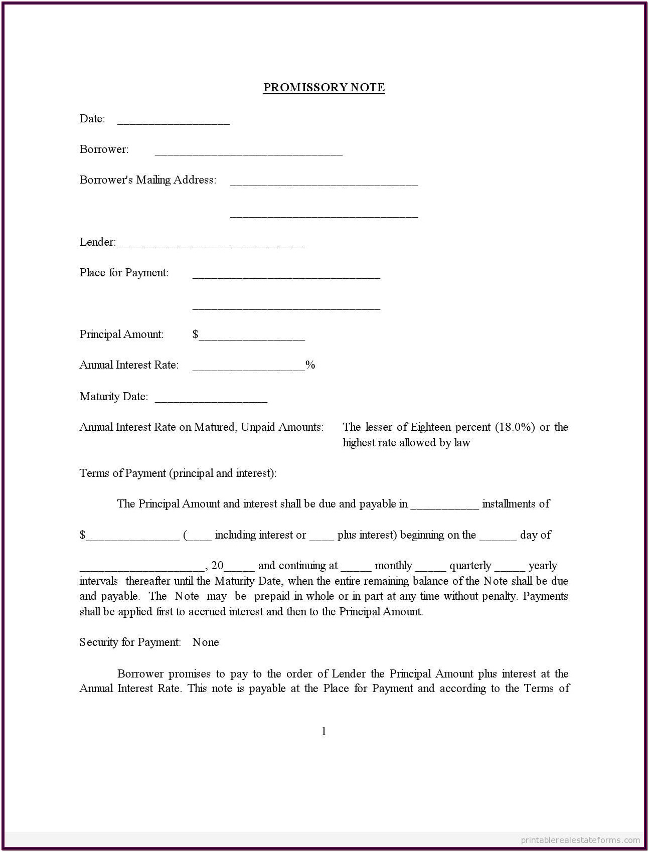 Printable Free Promissory Note Form
