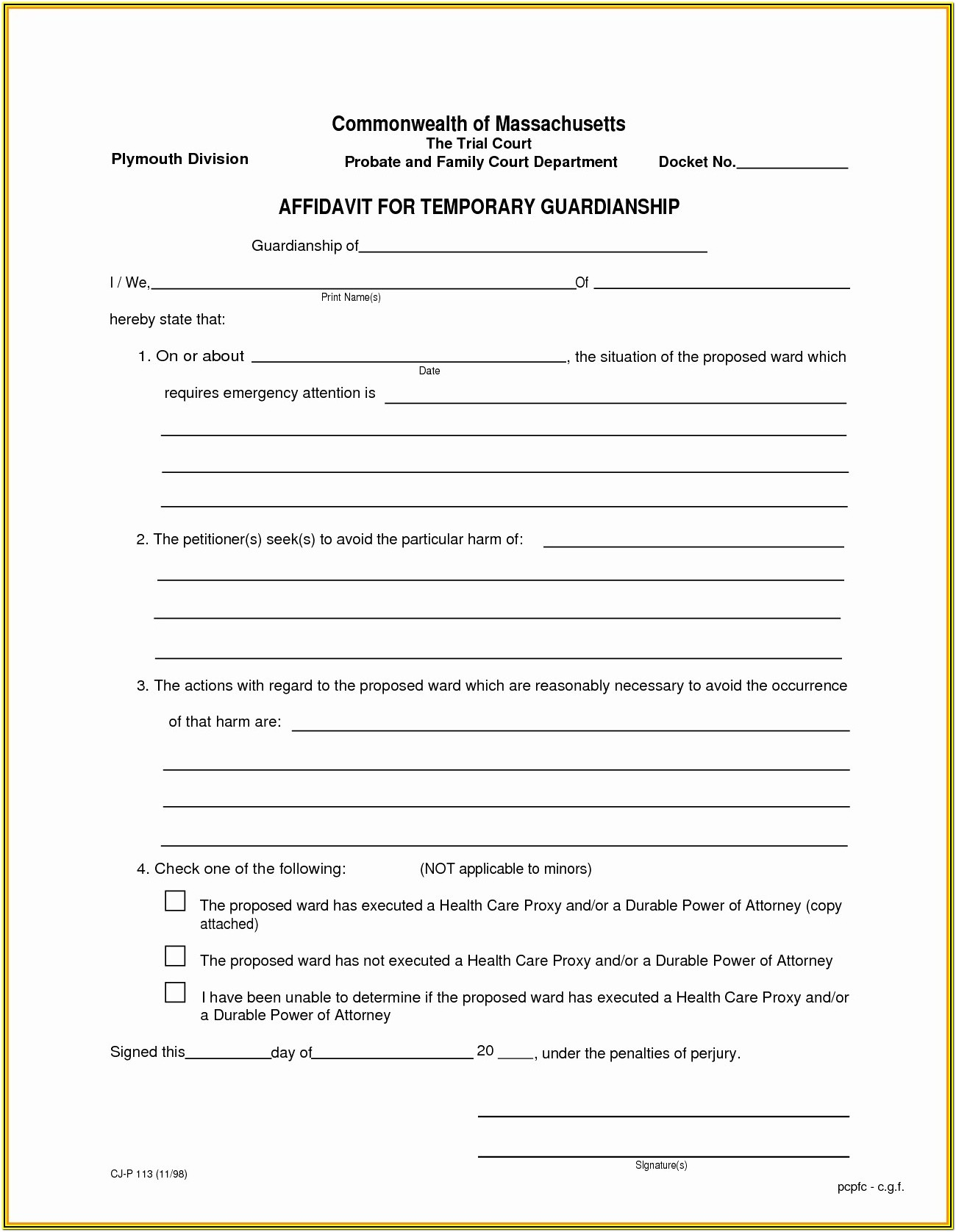 Printable Guardianship Forms