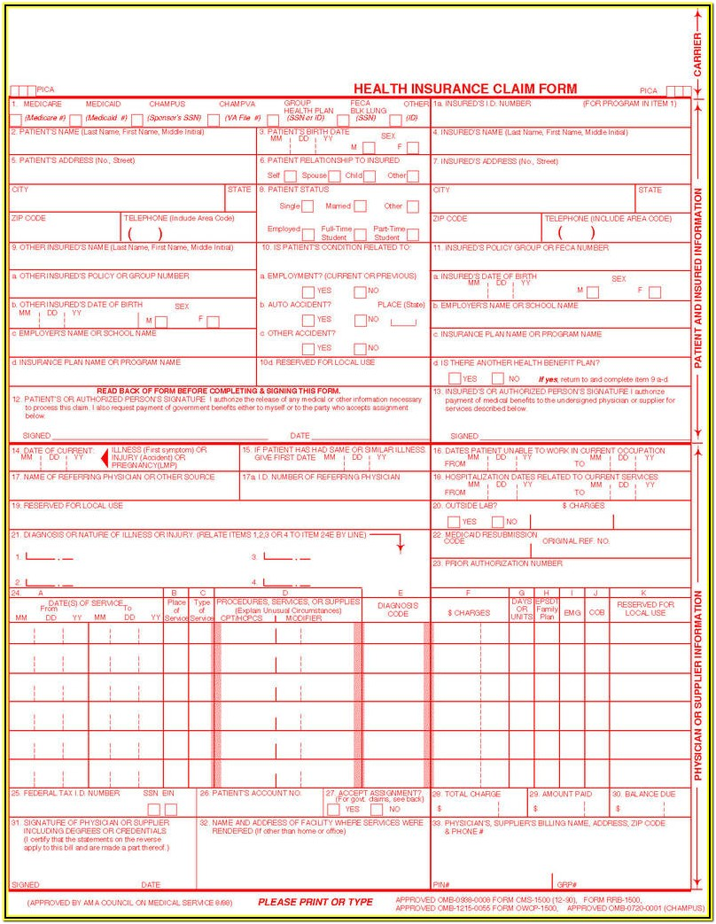 Printable Health Insurance Claim Form 1500