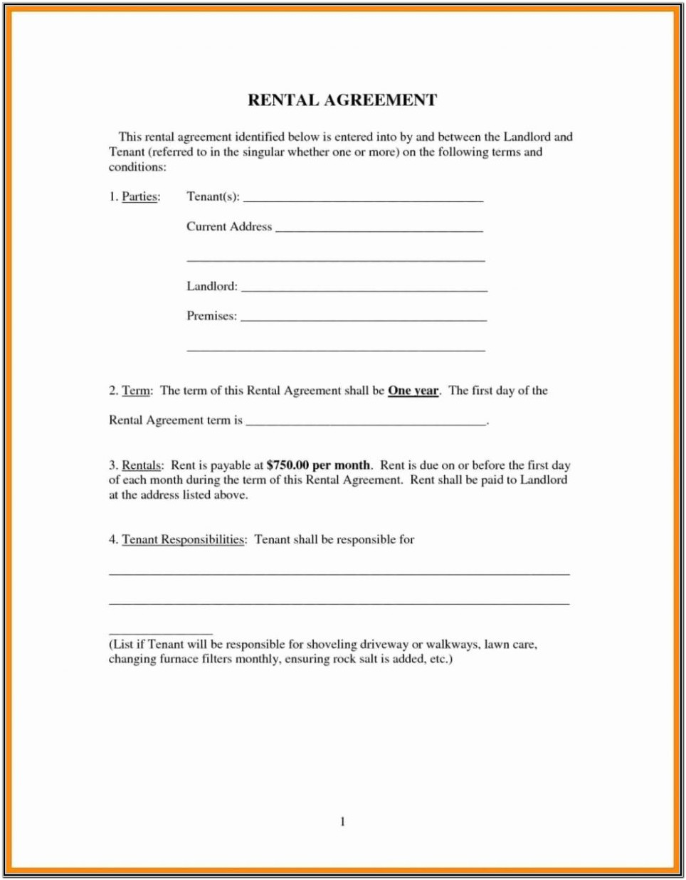 Printable House Rental Agreement Forms