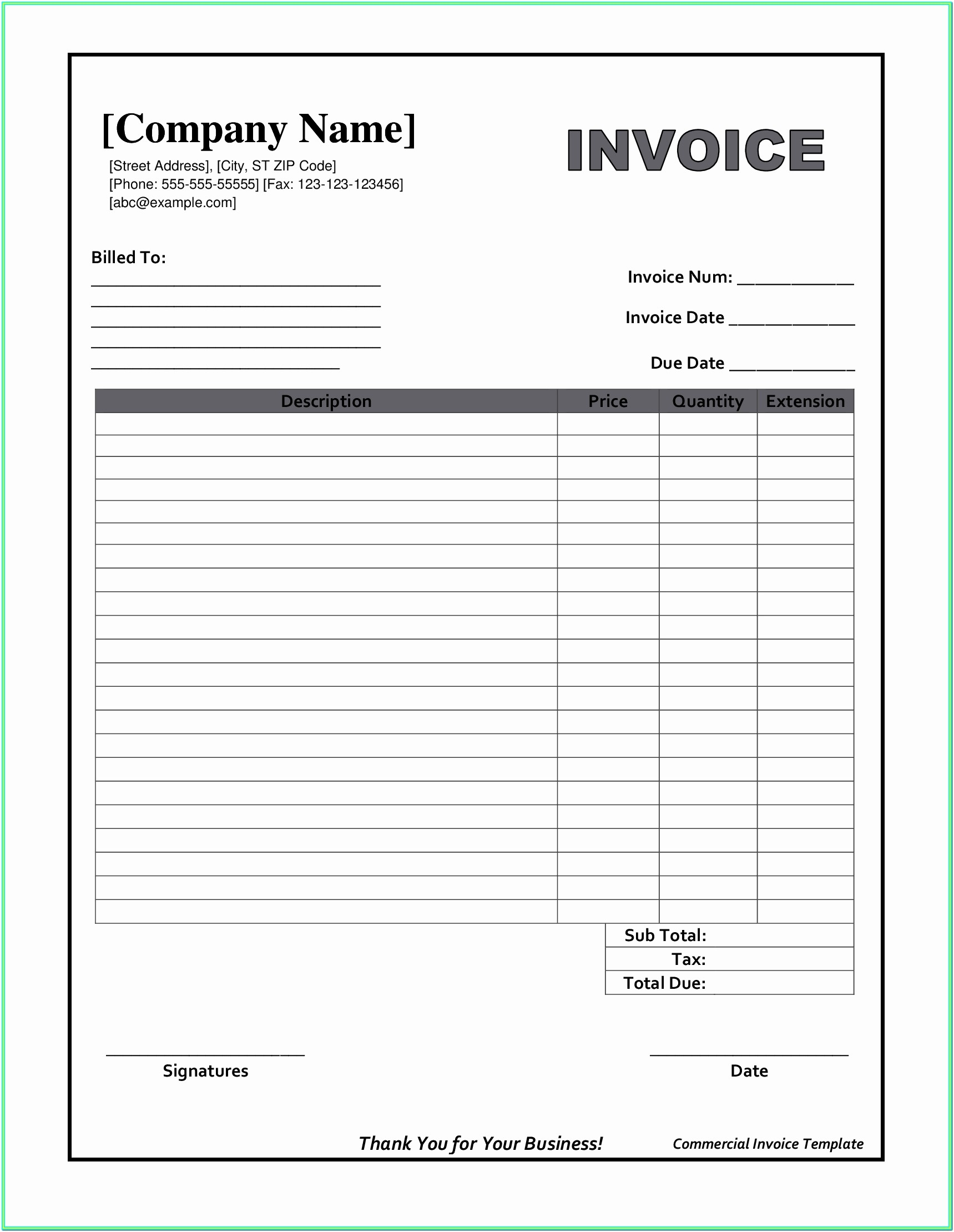 Printable Invoice Format