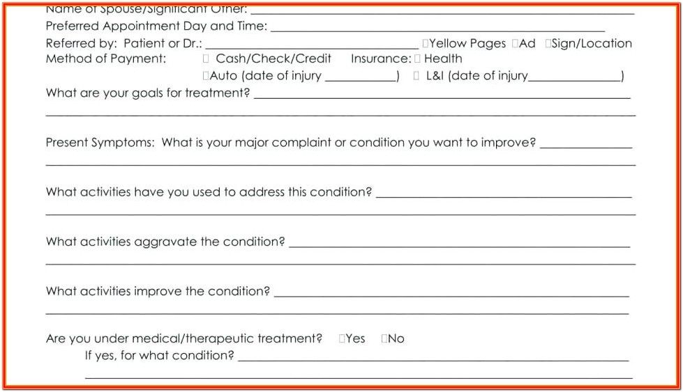 Printable Massage Therapy Intake Form Template