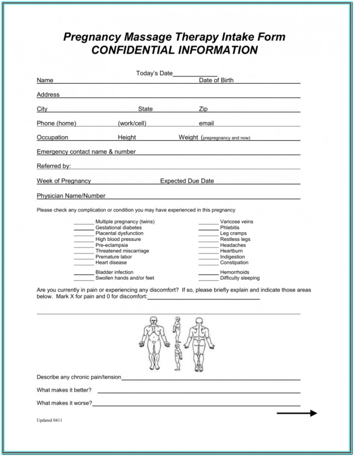 Printable Massage Therapy Intake Form