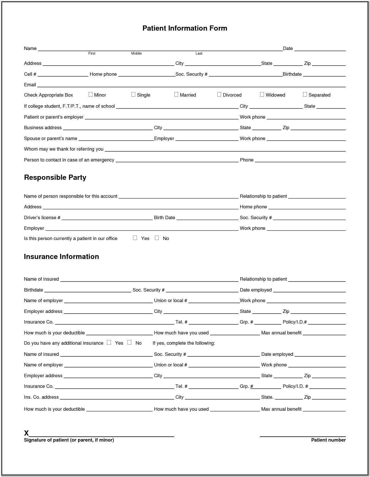 Printable Medical Registration Forms
