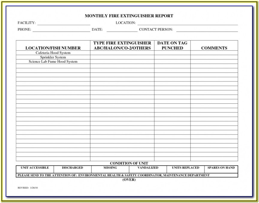 Printable Monthly Fire Extinguisher Inspection Form Template Excel
