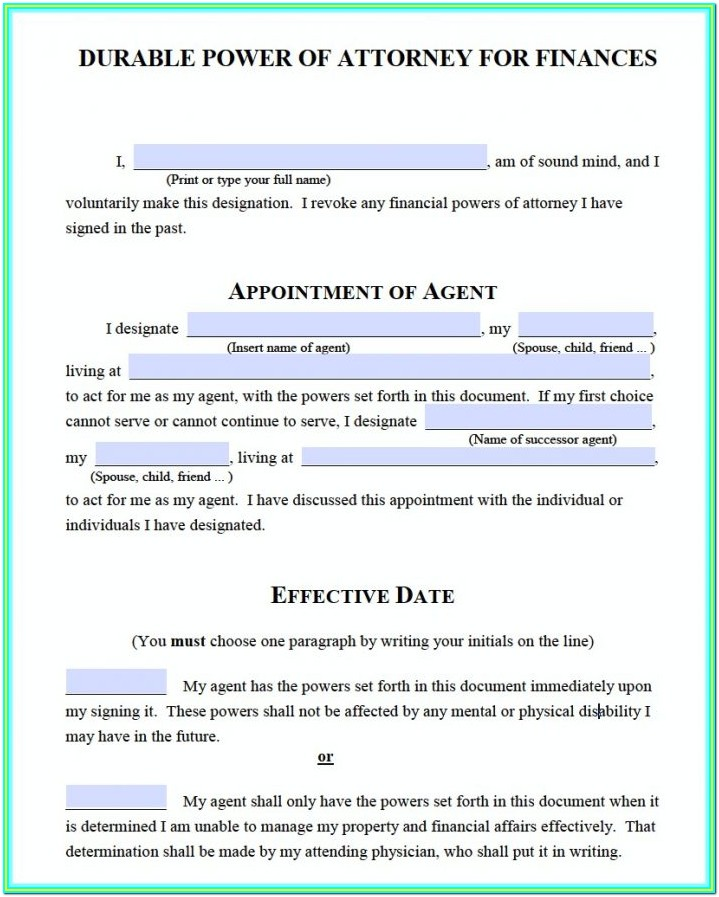 Printable Power Of Attorney Forms Ontario