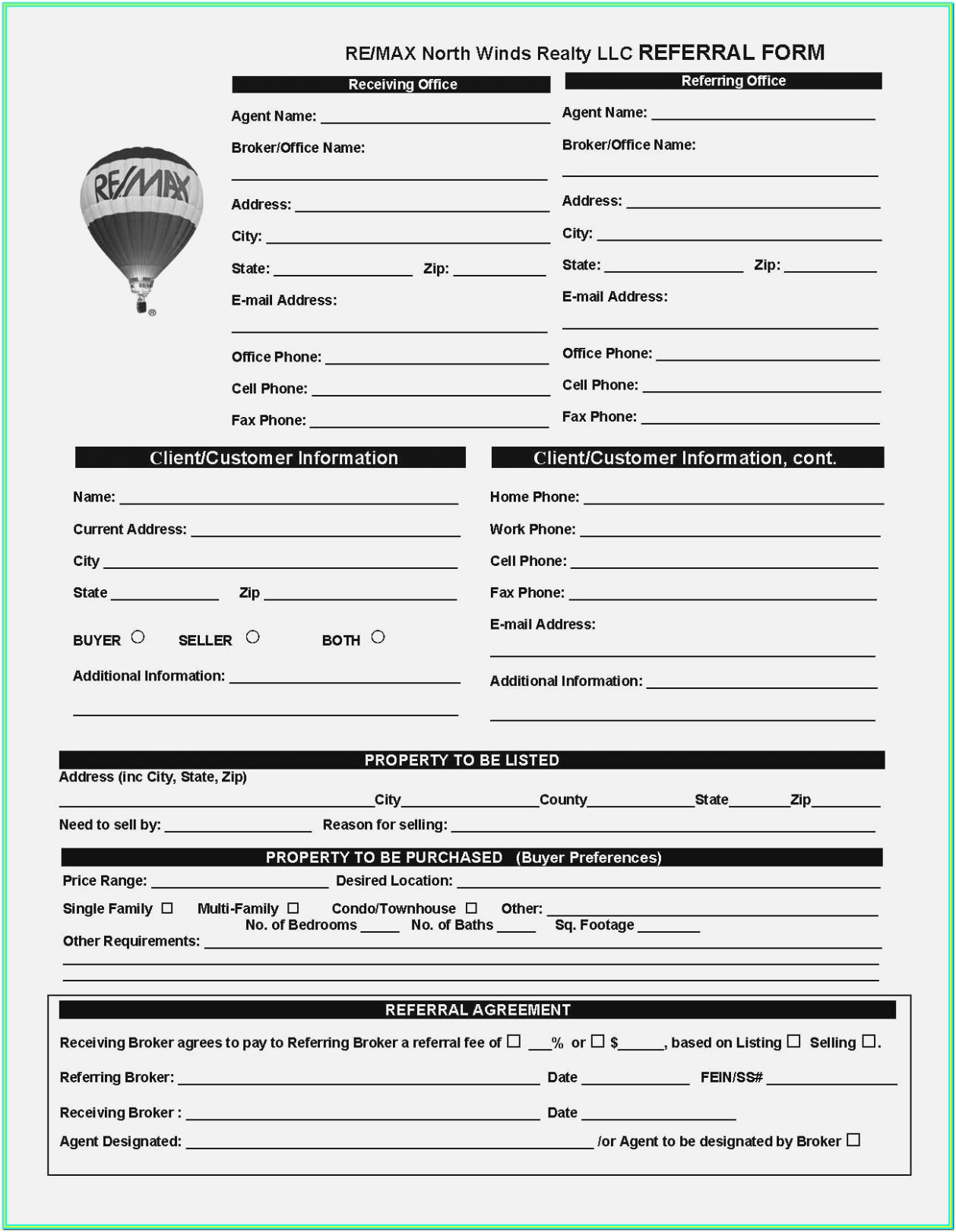 Printable Real Estate Agent Referral Form