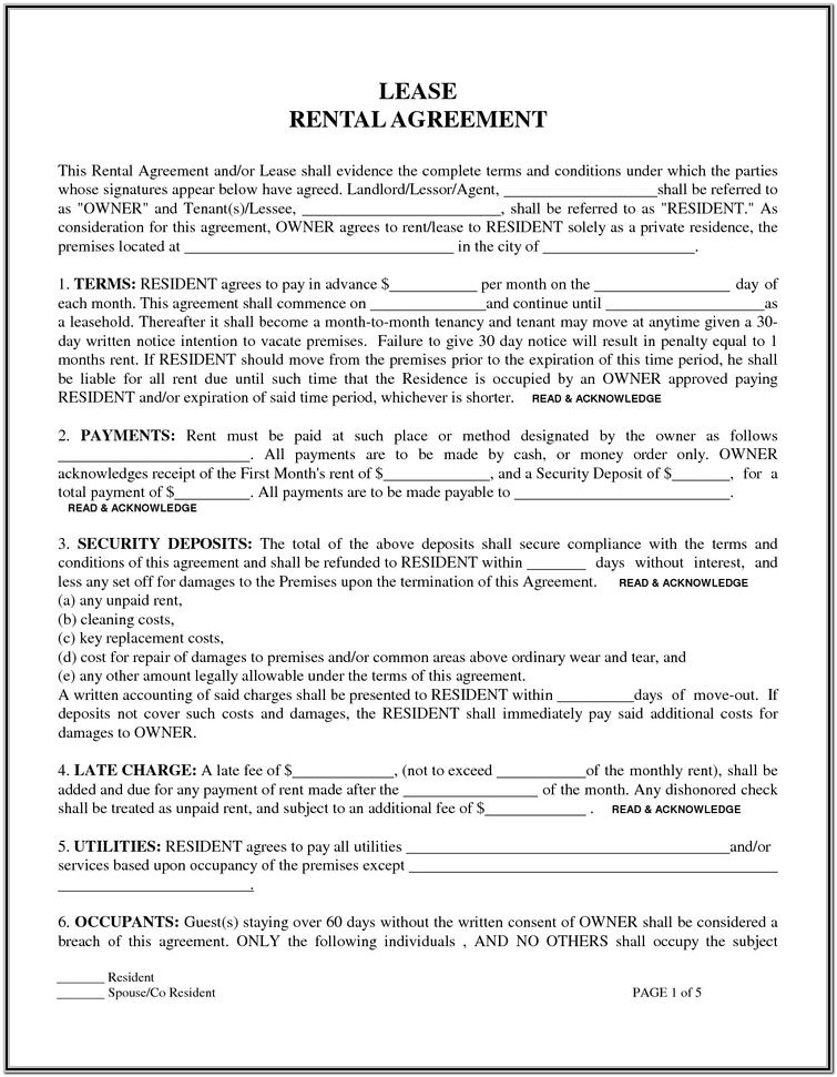 Printable Rental Agreement Forms Free