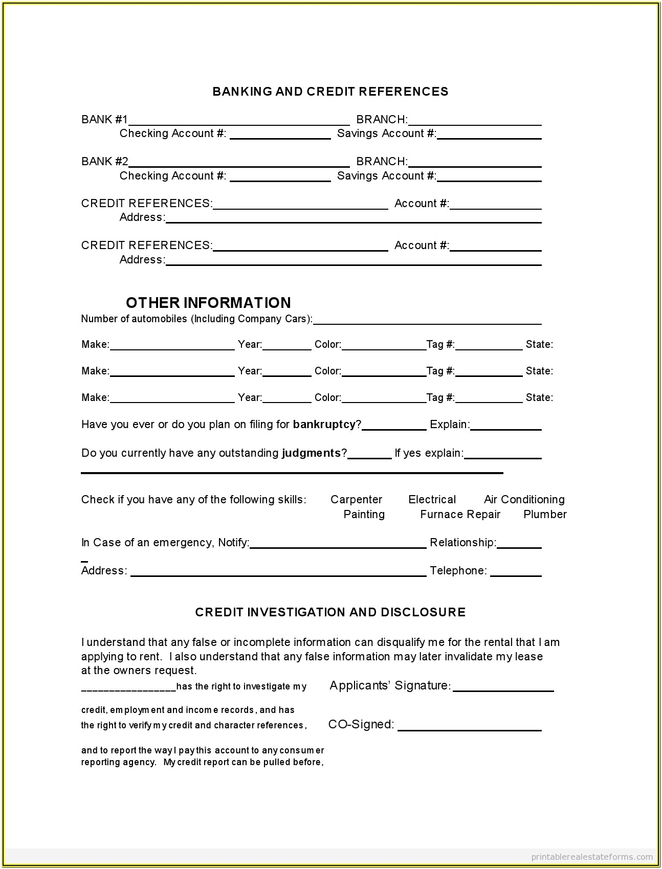 Printable Rental Application Form Template