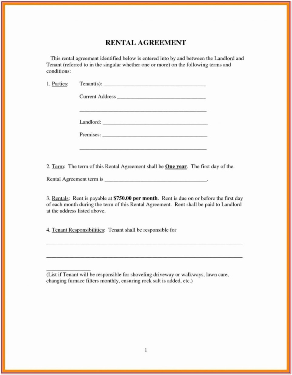 Printable Rental Lease Agreement Forms