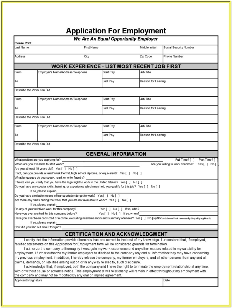 Printable Resume Application Form