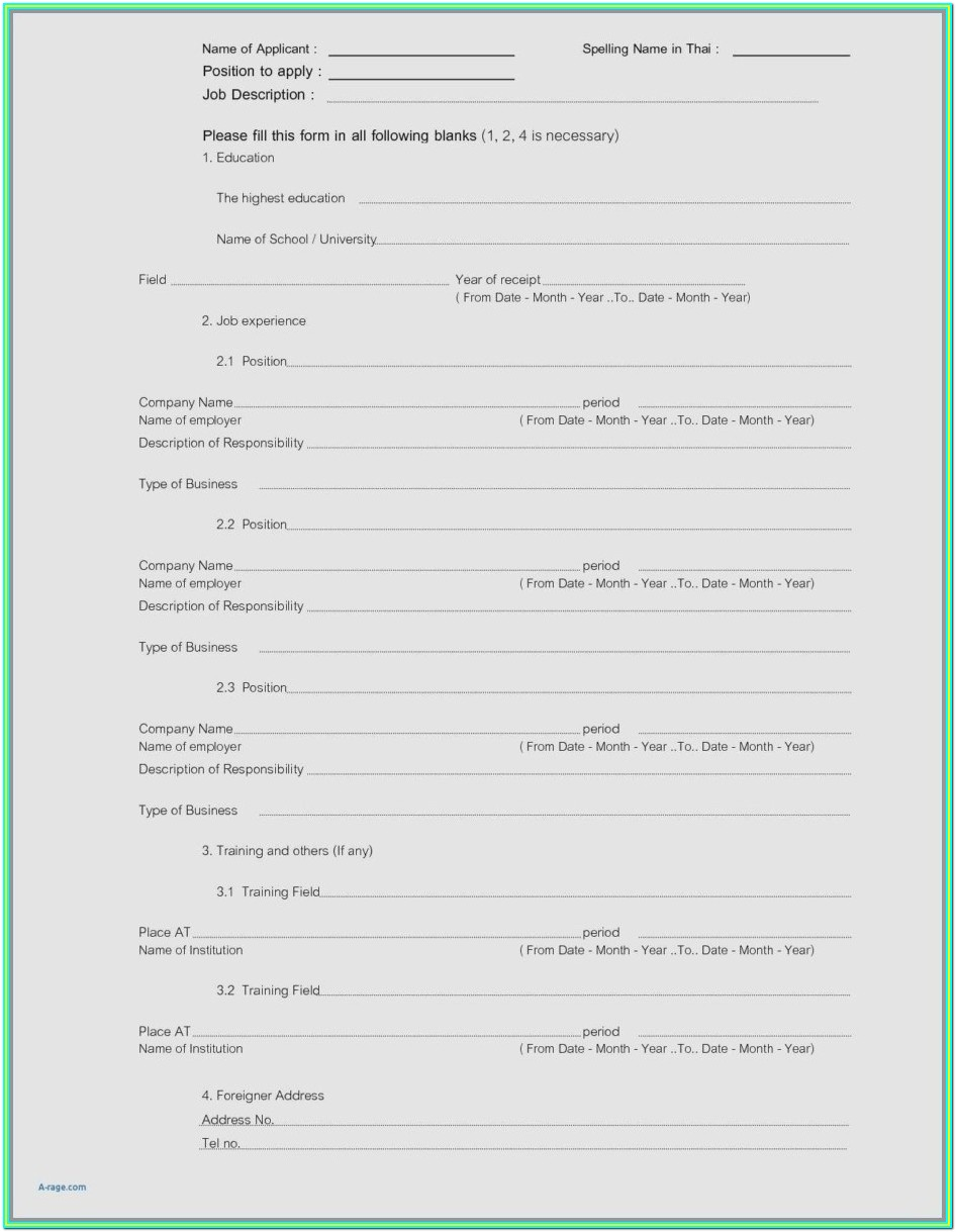 Printable Resume Forms Free