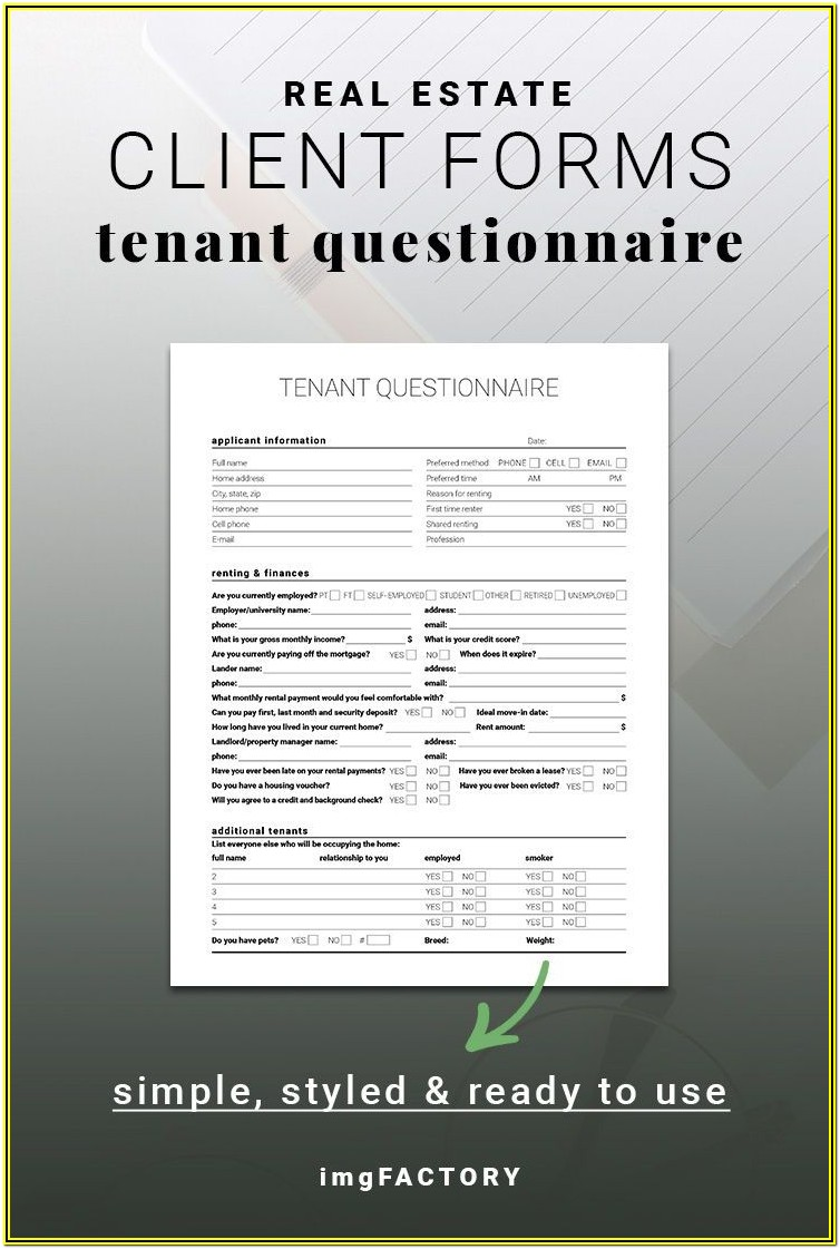 Printable Tenant Questionnaire Form