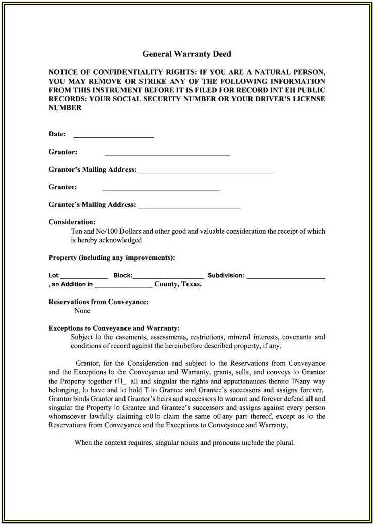Printable Texas Warranty Deed Form