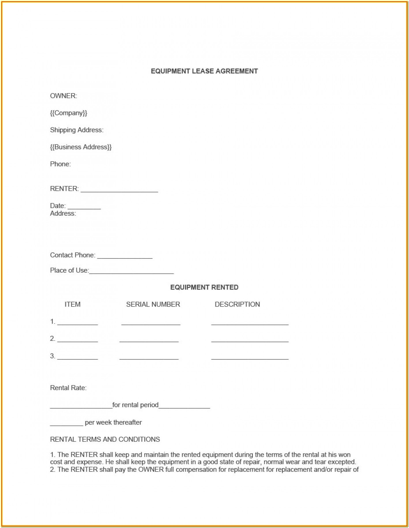 Printable Utility Trailer Rental Agreement Form