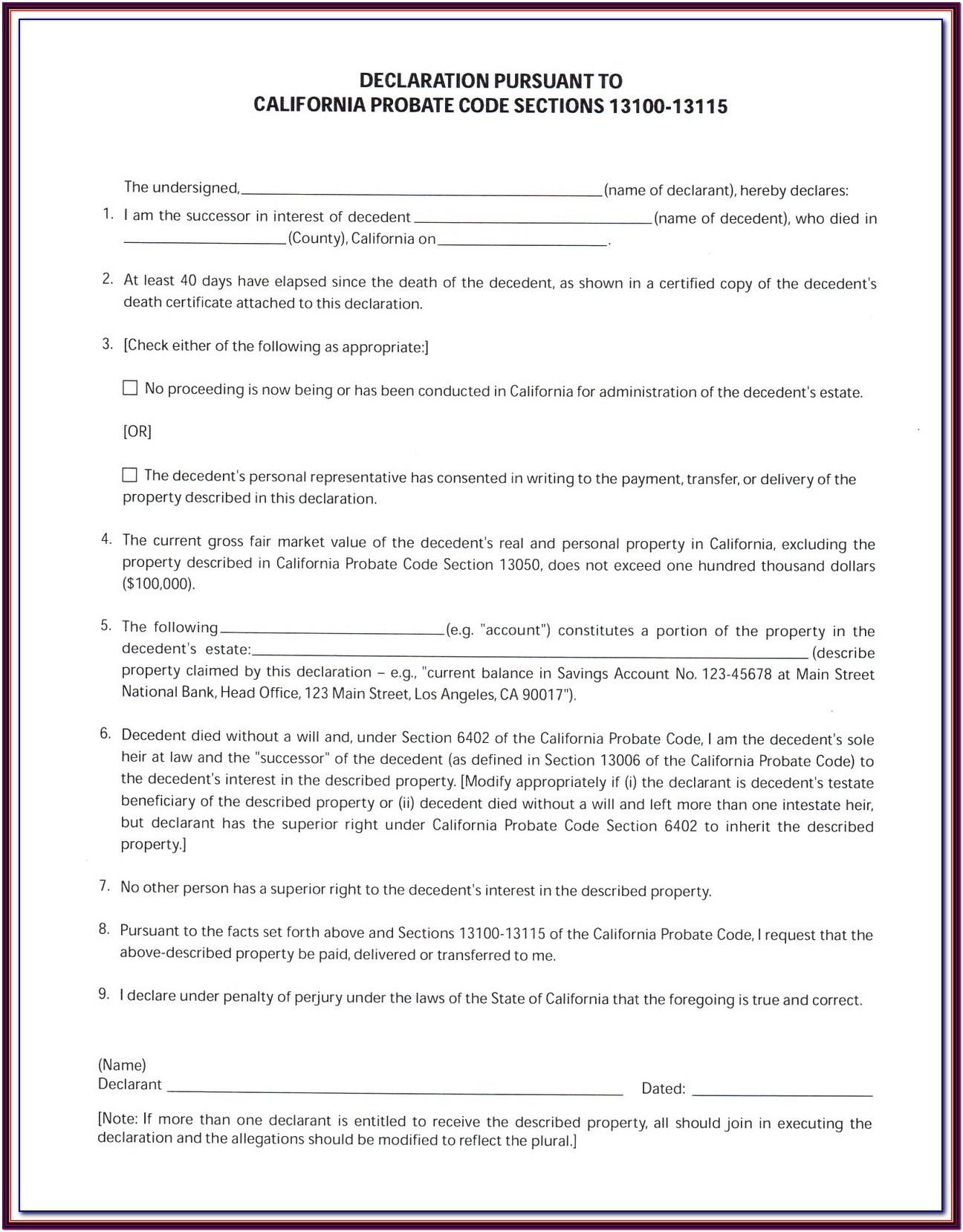 Probate Form 13100 Affidavit For Small Estates