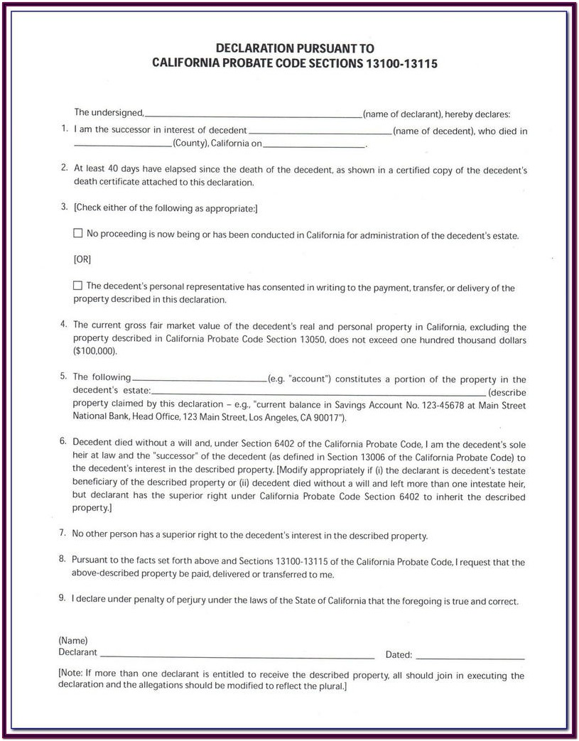 Probate Form 13100 Free
