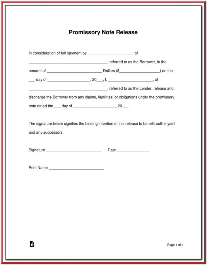 Promissory Note Sample For Form 137