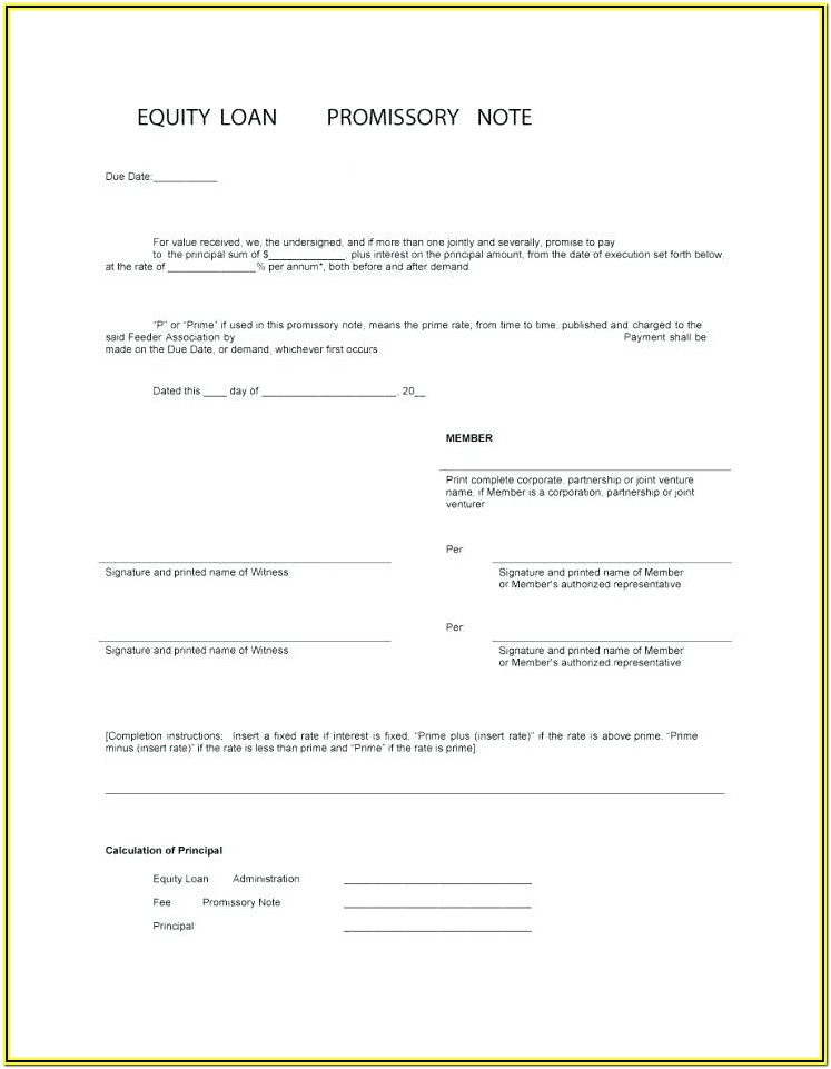 Promissory Note With Collateral Form