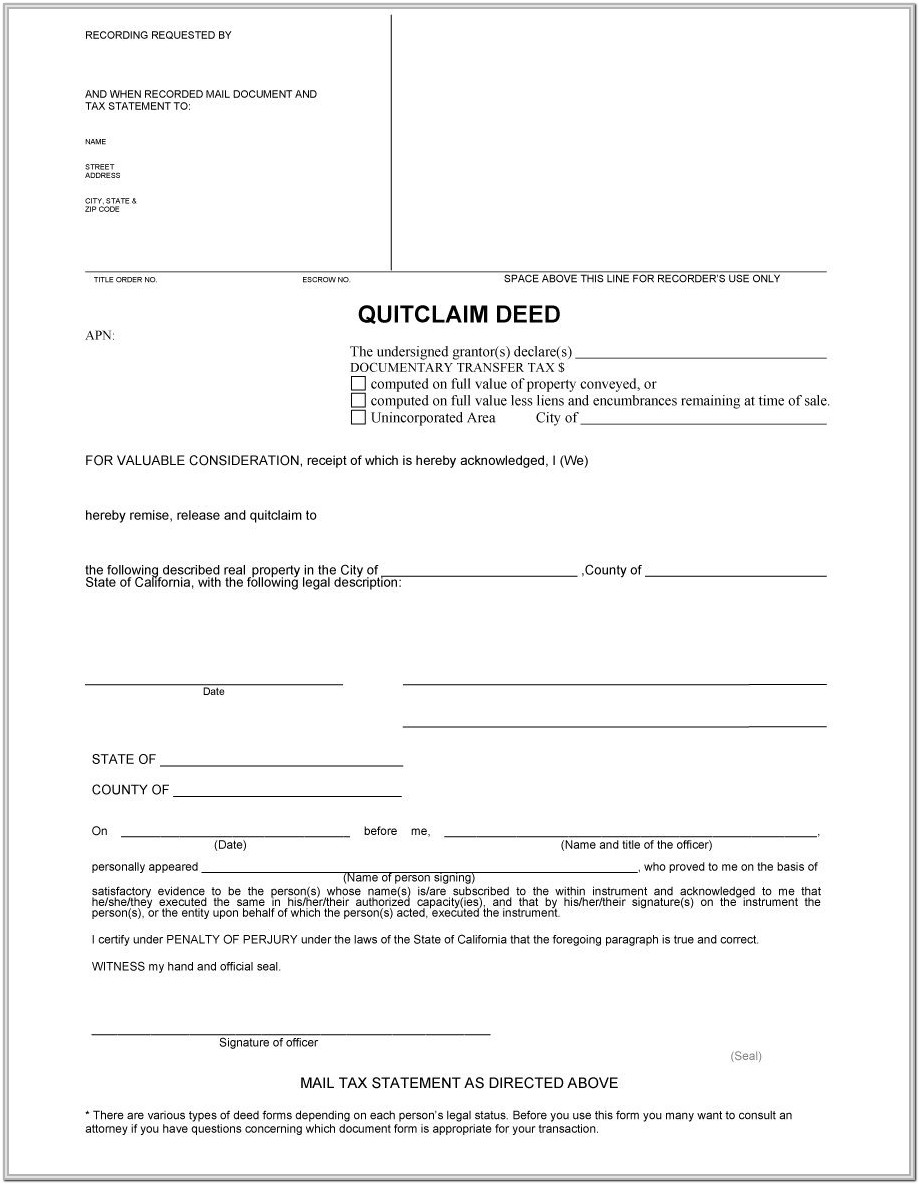 Quick Claim Deed Form Ohio