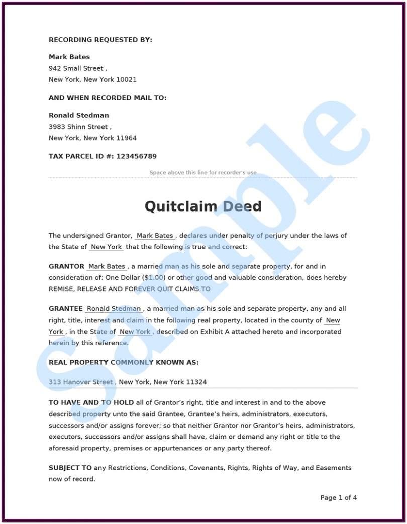 Quick Deed Transfer Form