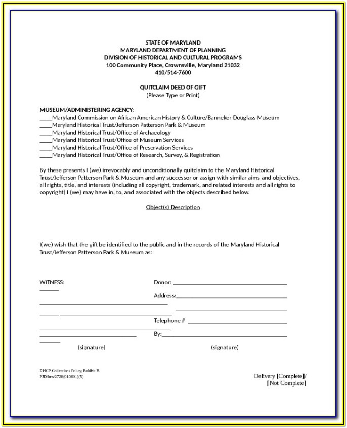 Quit Claim Deed Form Maryland