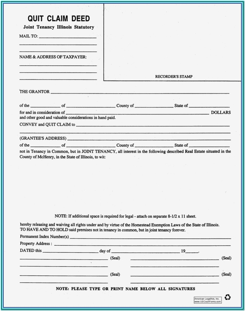 Quit Claim Deed Form Nevada