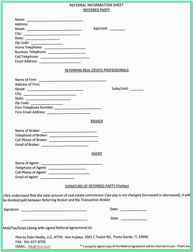 Real Estate Agent Referral Form