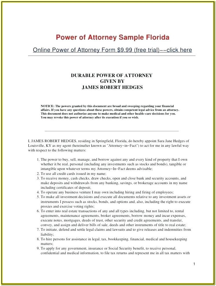 Real Estate Special Power Of Attorney Form