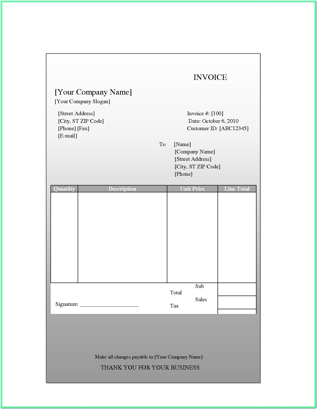 Receipt Free Printable Invoice Forms