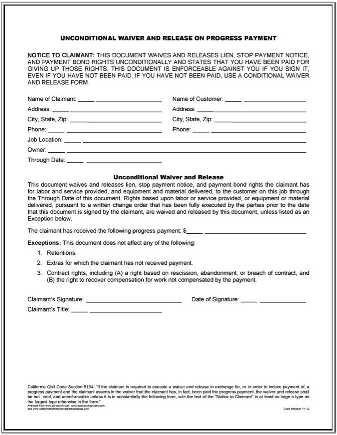 Release Of Liens Form
