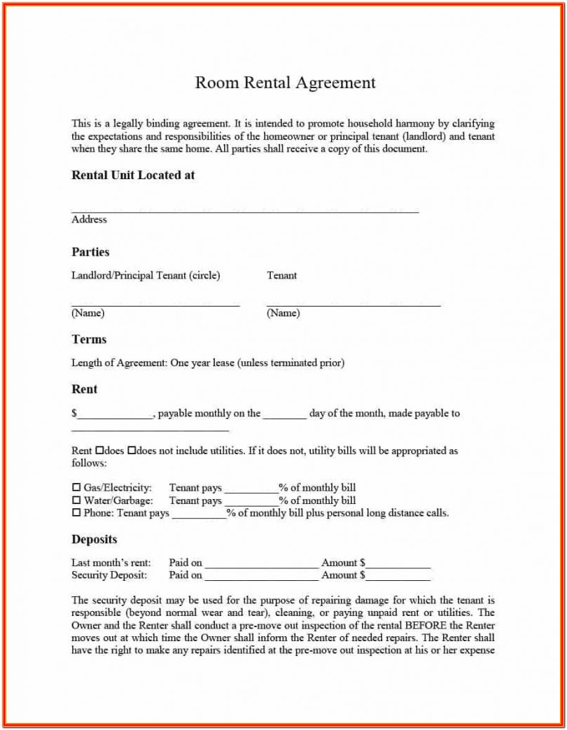 Rental Agreement Forms Oregon