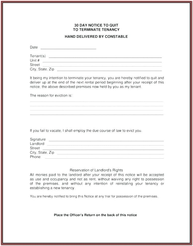 Renter Eviction Notice Form