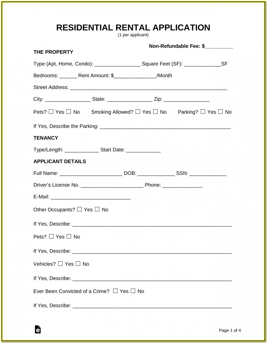 Residential Tenant Questionnaire Form