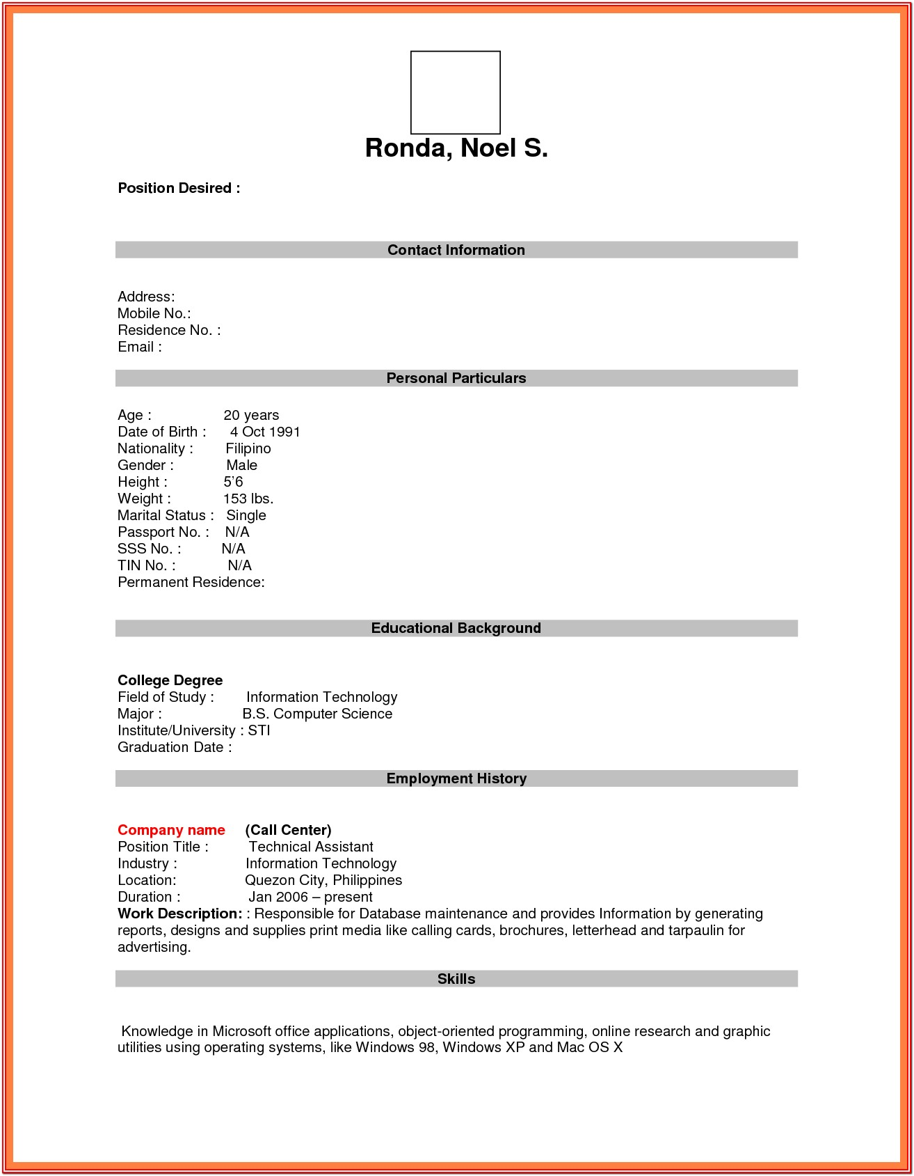 Resume Blank Form