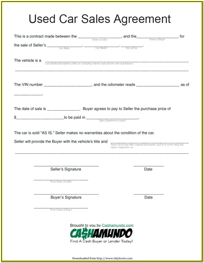 Retail Installment Sales Contract Form